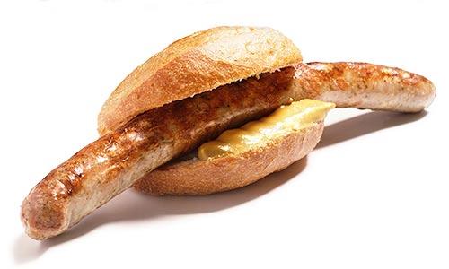 Bratwurst mit Broetchen
