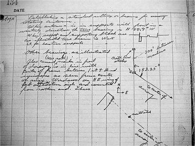 Jansky's notebook showing the position and location of his antenna, 1935 ( LSST )
