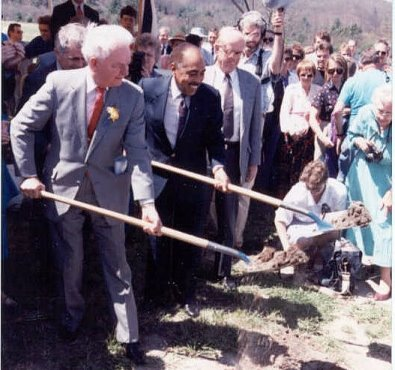 Groundbreaking for the GBT on May 1, 1991 (Left to right: Senator Robert C. Byrd, National Science Foundation Director Walter E. Massey, Associated Universities, Inc. President Robert E. Hughes). Image from the  NRAO .