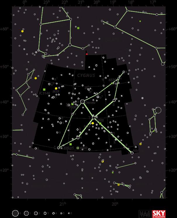 Map of the constellation Cygnus, from   Sky & Telescope  magazine (Roger Sinnott & Rick Fienberg)