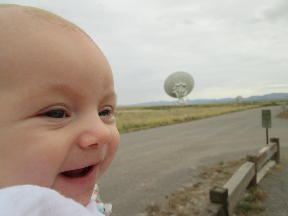 Günther loving the VLA near Socorro, NM, a major stop on our road trip to grad school