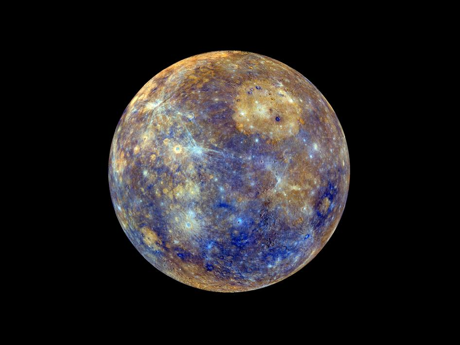 False-color image of Mercury.  Image Credit:  NASA/Johns Hopkins University Applied Physics Laboratory/Carnegie Institution of Washington