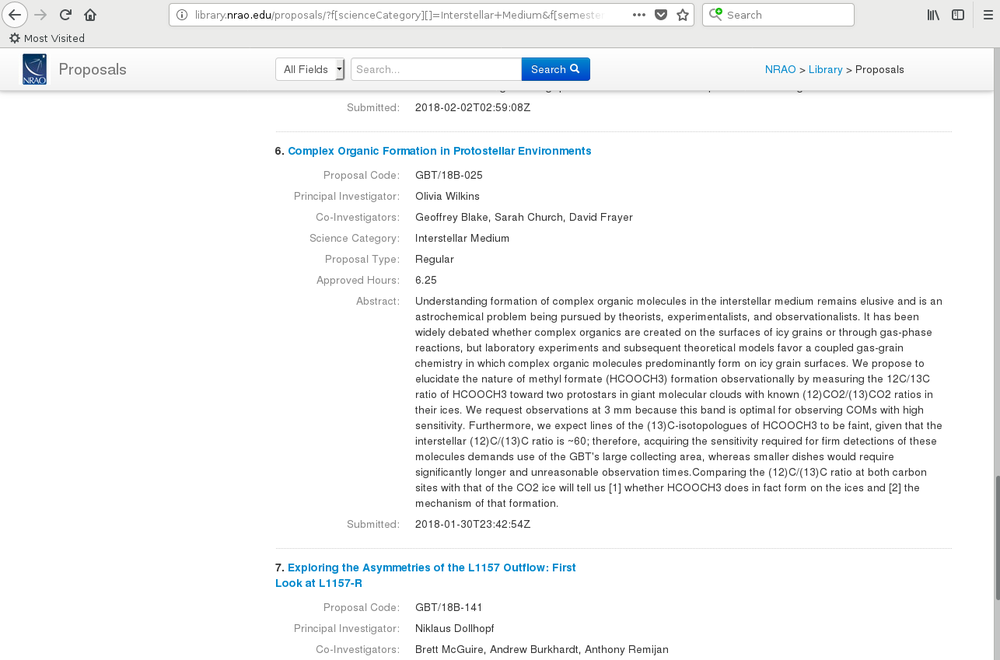 Screen shot of my accepted GBT 2018B abstract in the NRAO proposal library.