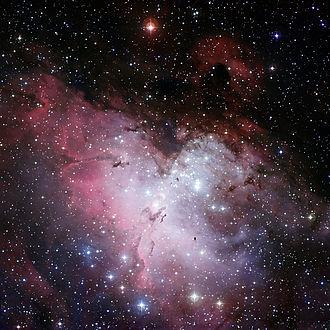 Eagle Nebula  (Image: ESO)  Right ascension: 18h19m Declination: -13°49'  Distance: 7,000 lightyears Radius: ~70 x 55 lightyears  Constellation: Serpens