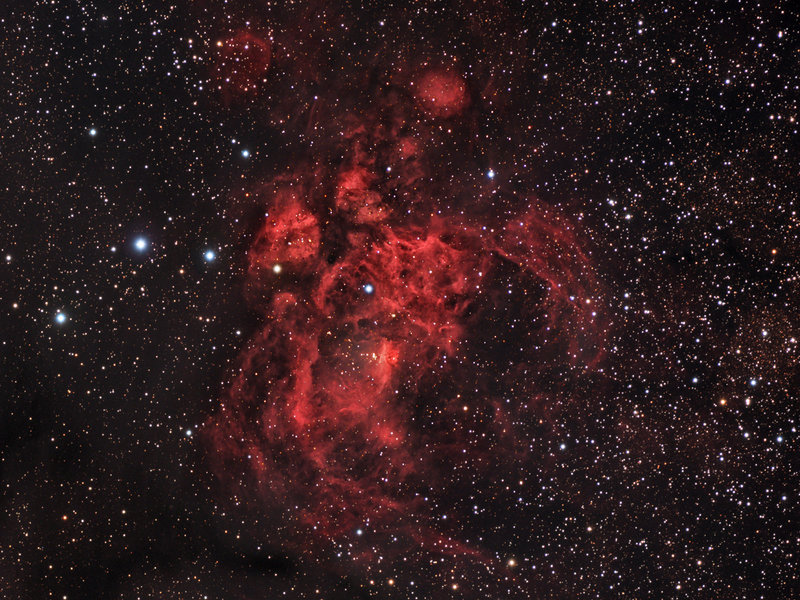 Lobster Nebula  (Image: J. Jennings)  Right ascension: 17h24m Declination: -34°20'  Distance: 8,000 lightyears  Constellation: Scorpius