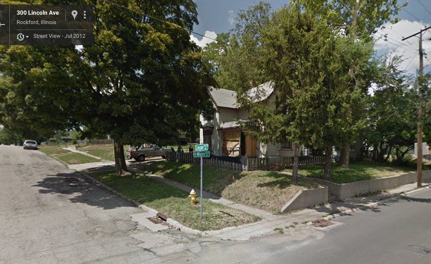 Google streetview, South Main and Lincoln, July 2012 (the month after Michael and I moved to Rockford). House has already lost some yard due to road widening/retaining wall addition. Note truck in driveway.