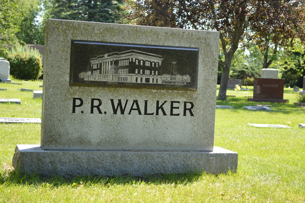 Peleg Remington Walker gravestone in Greenwood Cemetery, Rockford, IL. The image on the stone is Walker Elementary School, the namesake of this Civil War Veteran and President of the School Board of the State of Illinois.