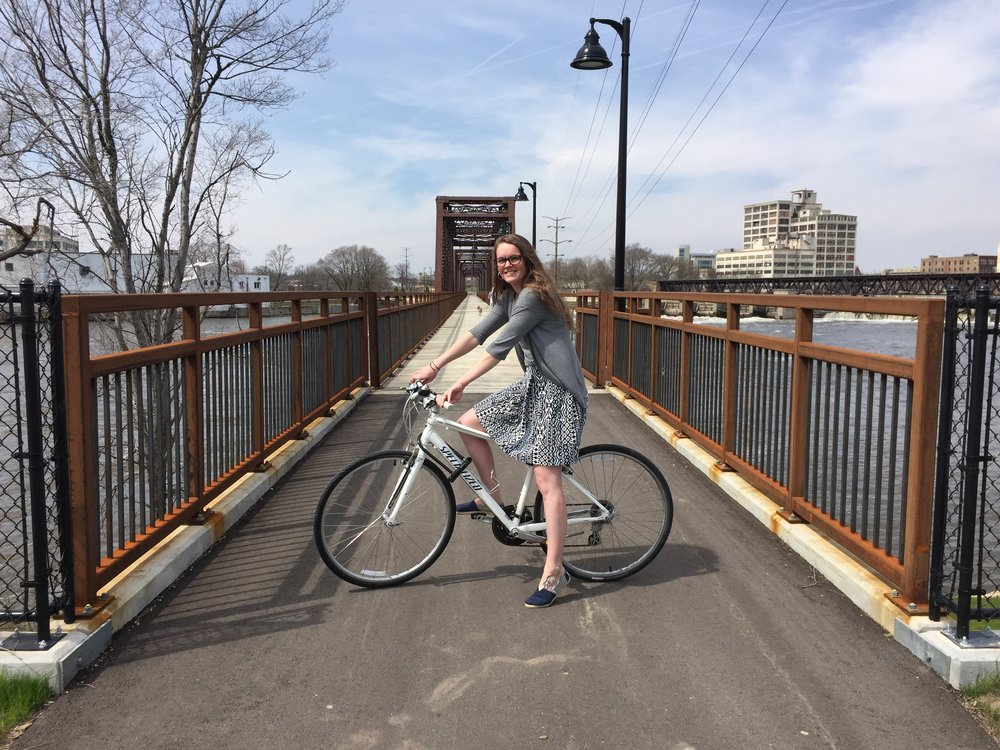 Rockford's new 'rails to trails' bicycle path, just south of downtown.