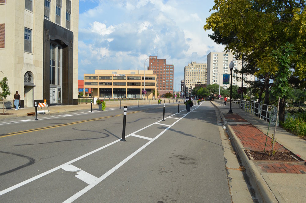 State Street, looking west.  This temporary bike lane has been applied each year for the past three years.