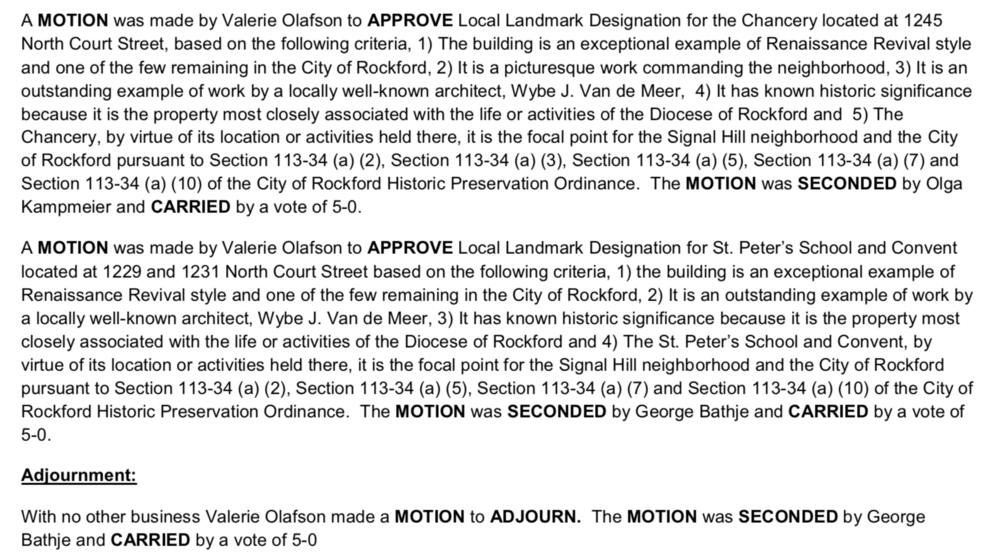 Excerpt, Historic Preservation Commission meeting minutes, 28 February
