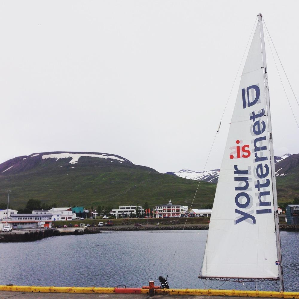 Messenger on the pier at Dalvik, Iceland