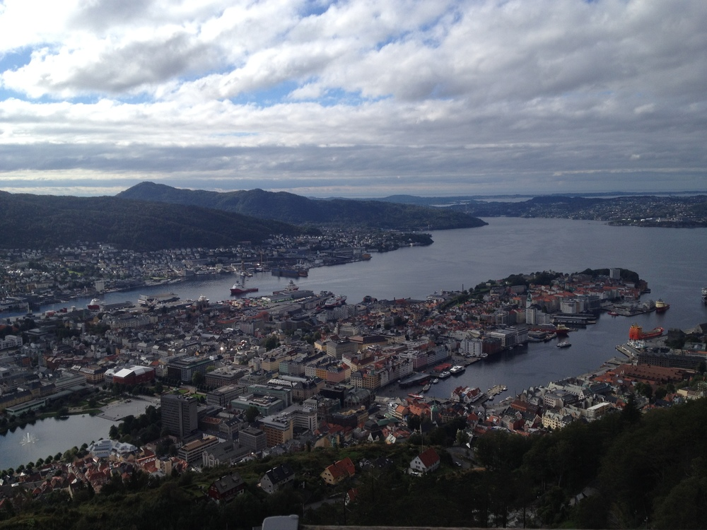 Our view of Bergen as we walked up the Fløyen mountain