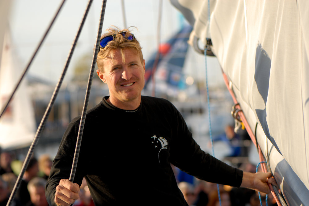 Jay at the Vendee Globe Village as part of Conrad Colman Ocean Racing team