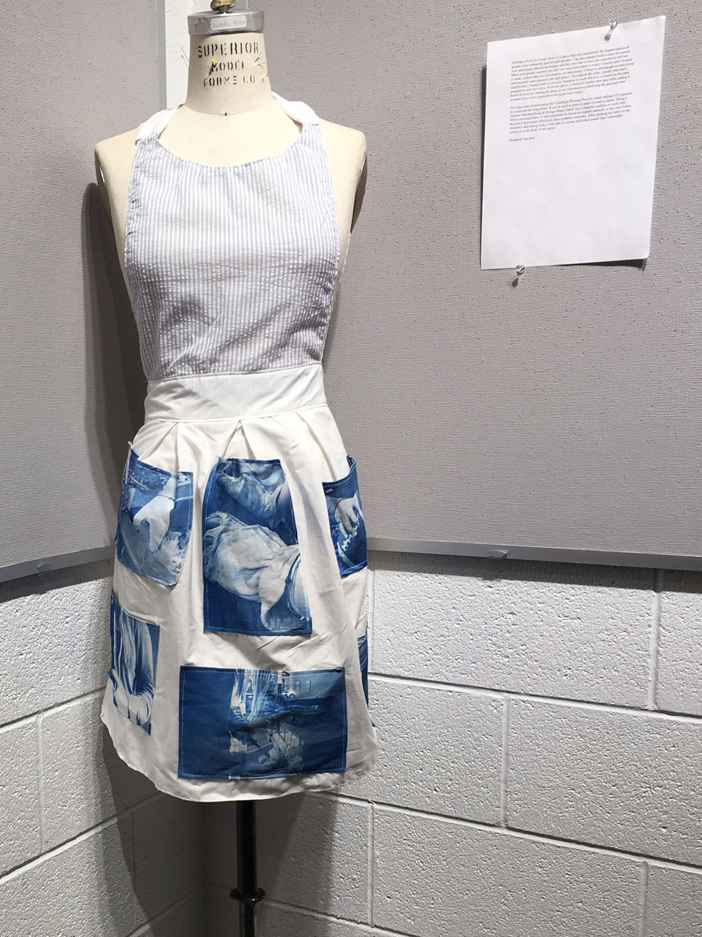 CMU Fall 2016, cyanotype on fabric, Alternative Photographic Processes, Final Project. Students spend several weeks exploring a self-assigned concept of their choosing. They submit 5 prints with exhibition ready presentation.