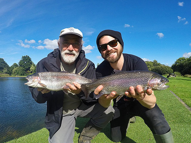 Father & Son team Steve & Adam Morley with the result of their 1 day fly fishing course. Well done guys!