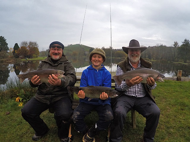 Gales had been forecast, but look at that lake - the word millpond springs to mind!  Three generations of the same family visited this week despite the inaccurate predictions and were rewarded with some fine Trout.