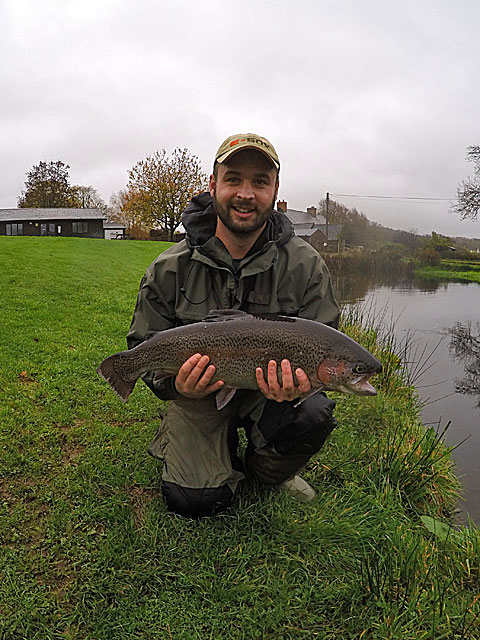 Novembers first double figure Trout - exactly 10lbs to  Mike Kennedy  and he stalked it on a dry fly.  Note the calm conditions once again!