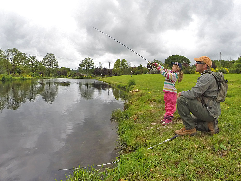 A young lady trying for a Trout on Lobbs Lake