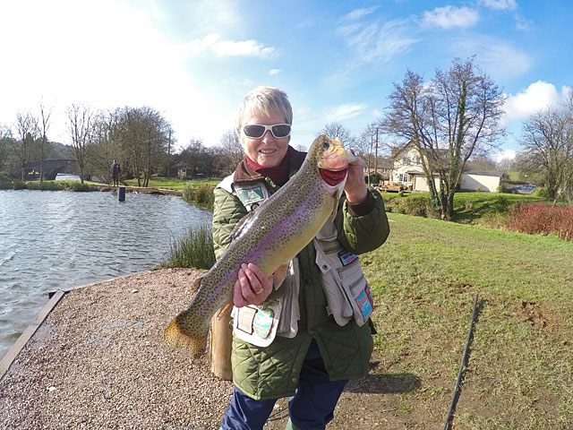 Mary Ratcliffe with the best Trout of the match - a beautifully marked Rainbow weighing 4lb 12oz