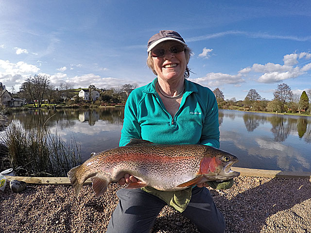 Fran Eastwood with her 8lb 8oz Rainbow landed using Buzzer tactics