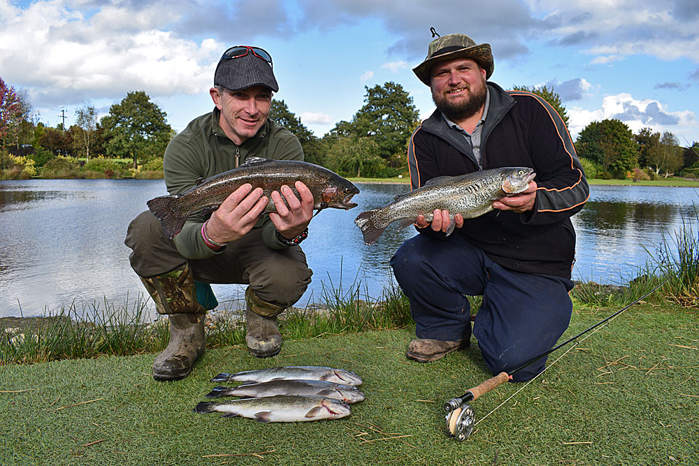 Terry & Dan caught well during their fly fishing course, adding two further fish after this photo to complete their day with 7 in total.  All the Trout were landed using washing line tactics.