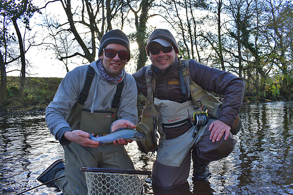 Pete Tyjas (right) with Tom and his first ever Grayling.  Pete will be heading over on Sat 10th Dec to help run the Devon & Somerset Fly Fishing Day.