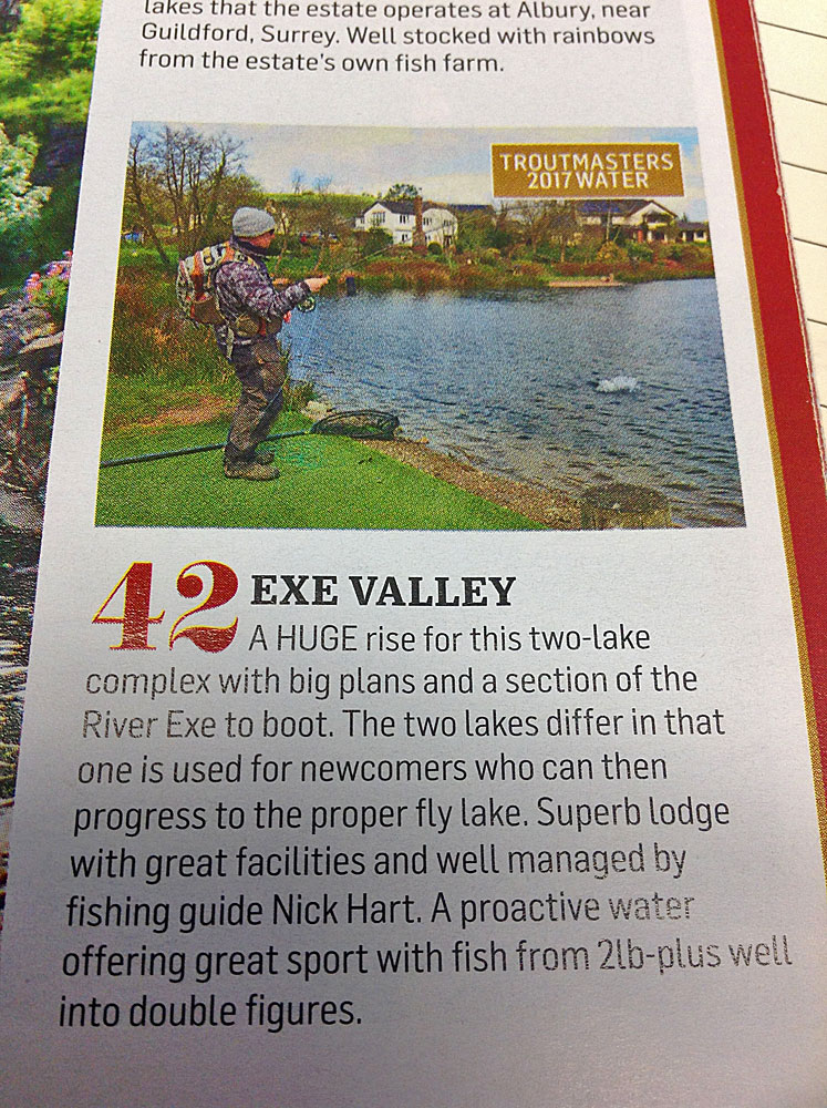 Exe Valley Fishery - Enters into the Top 50 Stillwater Trout Fisheries in the UK