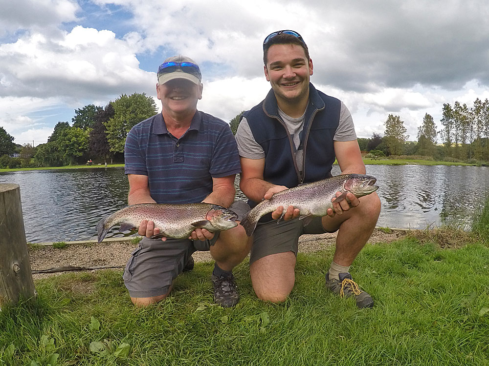 More new fly anglers.  This is John Lovick on the left with a fine Trout landed on a Buzzer while his son Stuart was very pleased to connect with a similar specimen using a Blue Flash Damsel. They caught 5 fish between them on Thursday 10th August and until then had never even touched a fly rod, let alone cast one!