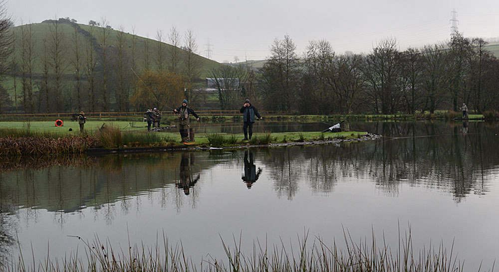 The Anchor Lake bustling with activity during the South Molton fishing club day