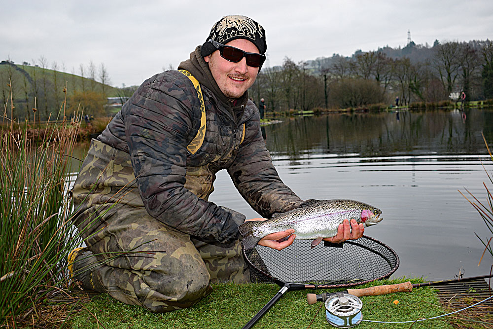 Regular Exe Valley angler Blair Woodland from South Devon put his Blobs to good use, fished with a variety of retrieves in various locations around the lake. He finished the day on 12 fish.