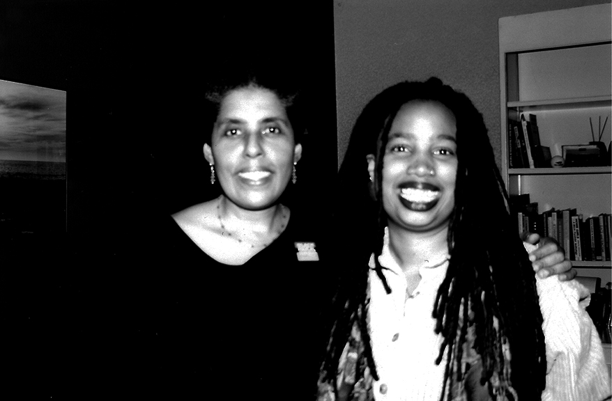 NO! Production Still: featured interviewee Barbara Smith and producer/director Aishah Shahidah Simmons)_Joan Brannon, photographer ©1999