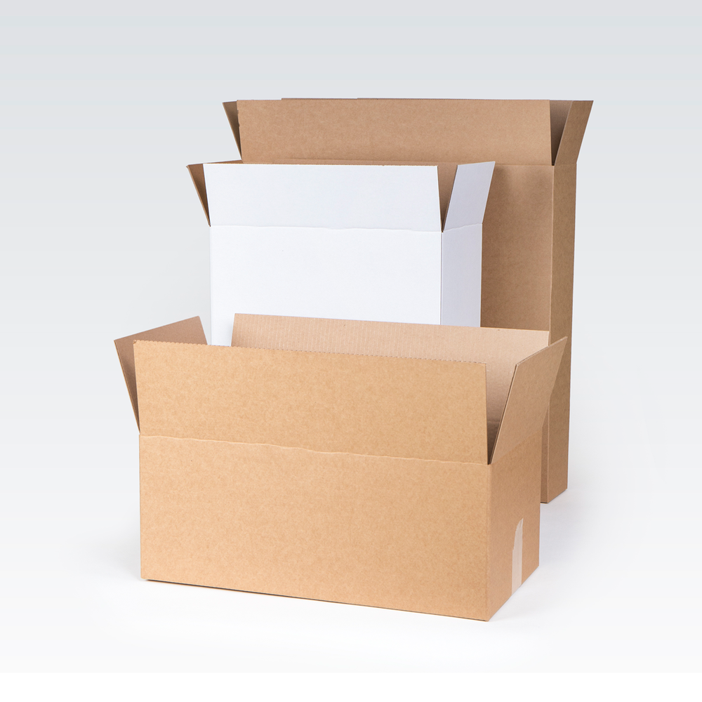 Worldwide delivery of cartons in different sizes, brown or white.