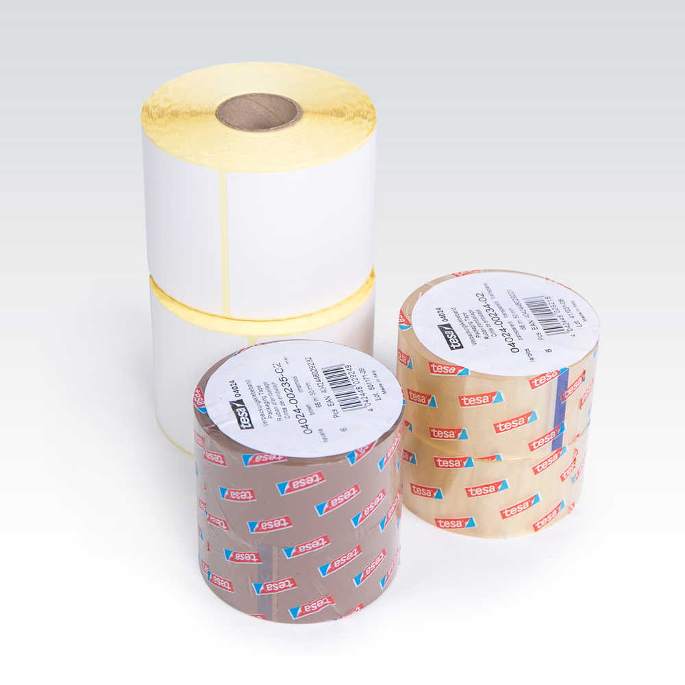 Labels and tape rolls.