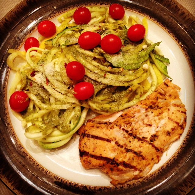 Grilled chicken zoodles