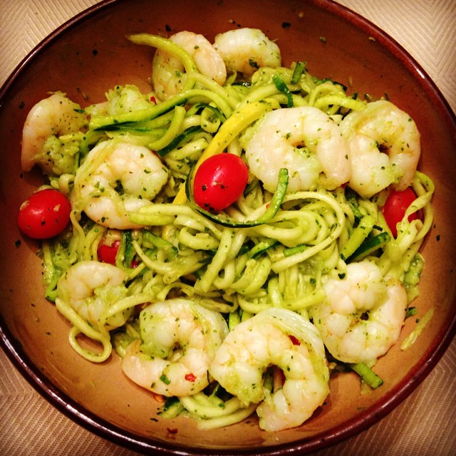 Shrimp Pesto Zoodle Pasta
