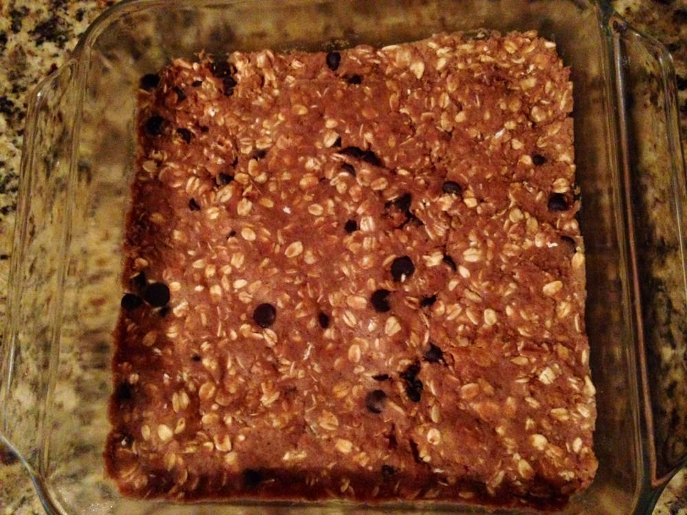 Bars are set in the baking dish and ready for refrigeration!