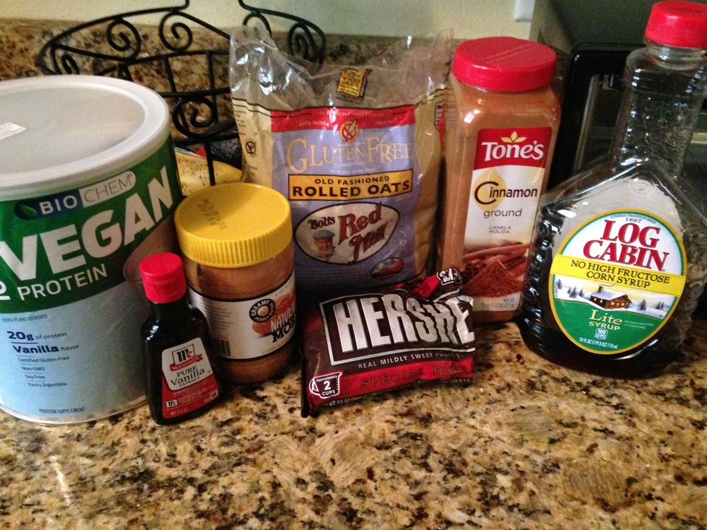 All the ingredients needed for the protein bars (Silk Unsweetened Almond Milk not pictured)