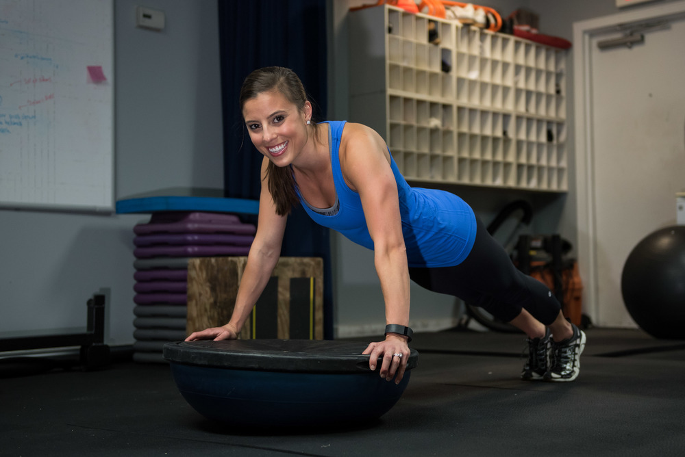 Top phase of the Bosu Ball Push-up (Exercise #2)