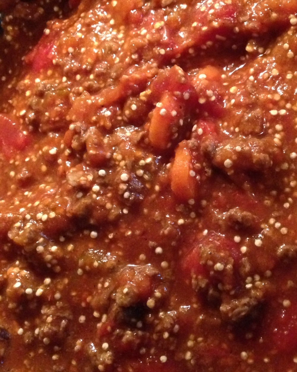 Up close and personal with this hearty Pumpkin Quinoa Chili