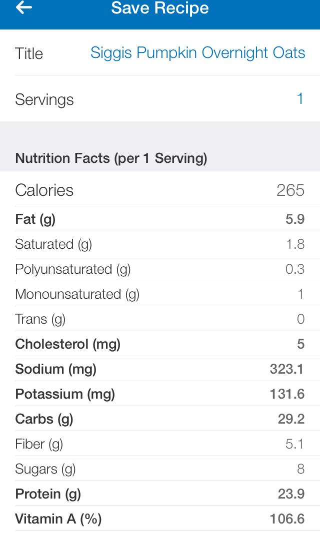Siggi's Pumpkin Spice Nutrition