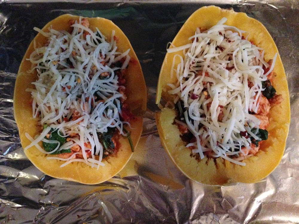 Step 5: Loaded Squash Boats and ready for baking, yet again!