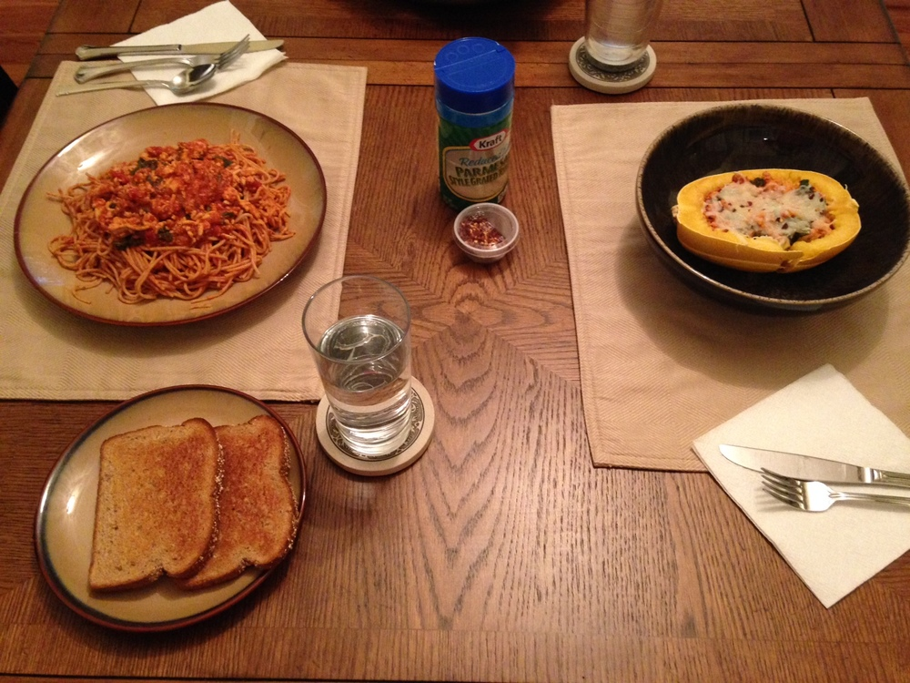 Simple easy dinner with my husband (clearly, his plate is the one piled high with carbs)!