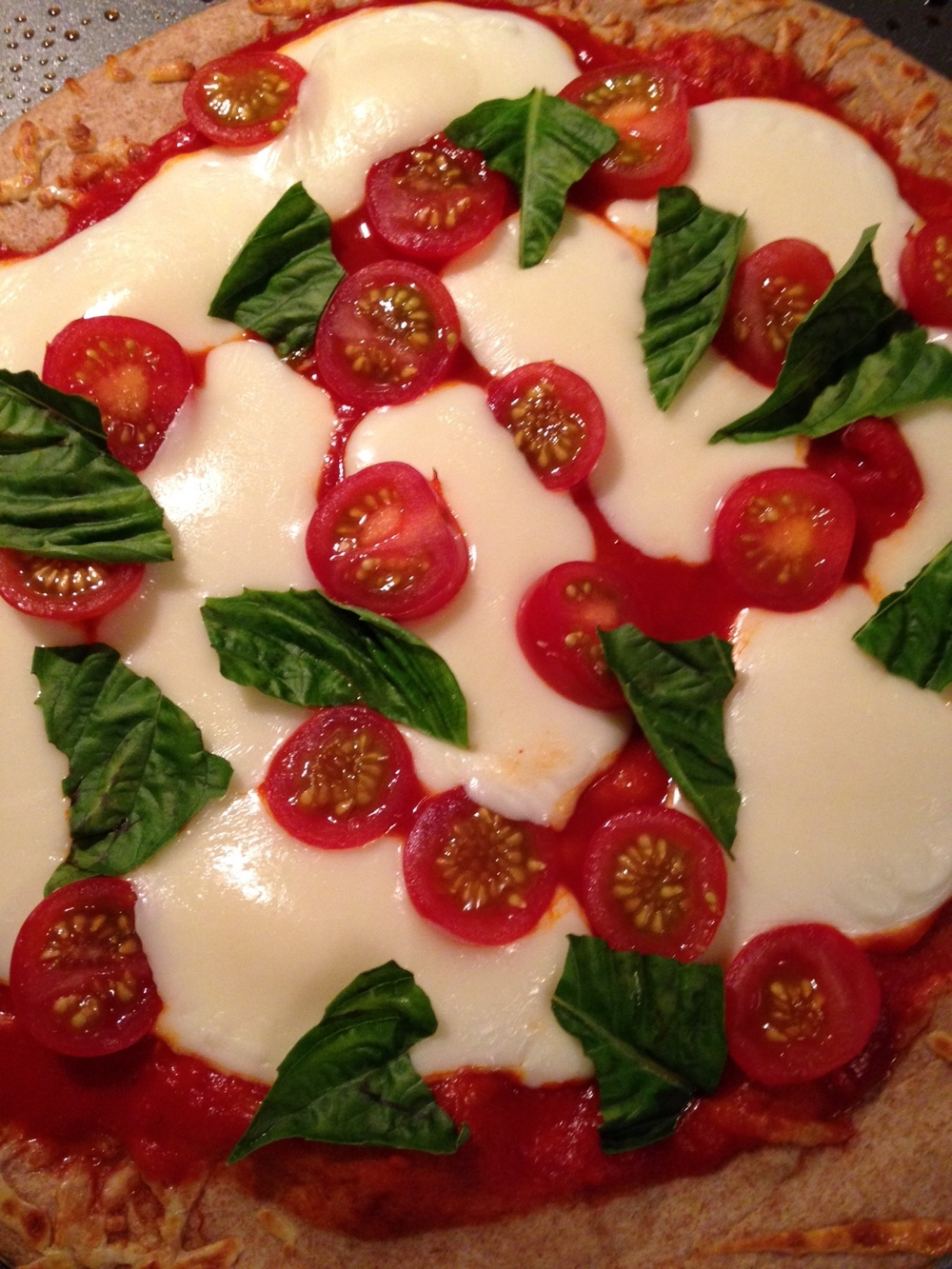 Whole Wheat Caprese Pizza (before the Smoked Salmon was added)