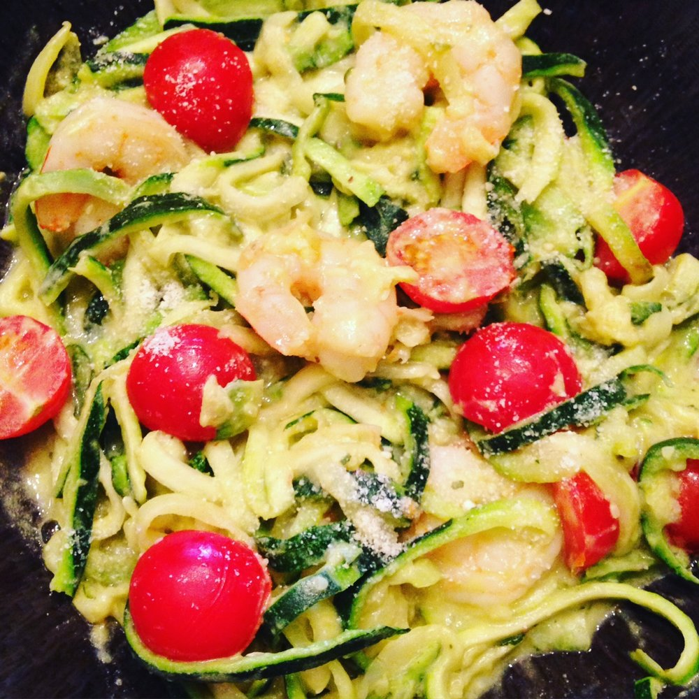 Shrimp Alfredo (aka Shrimp and Zoodles with Creamy Guacamole Sauce)