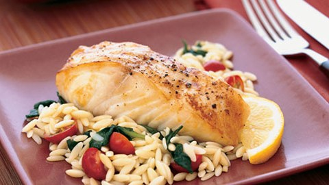 Baked Halibut and Orzo Recipe