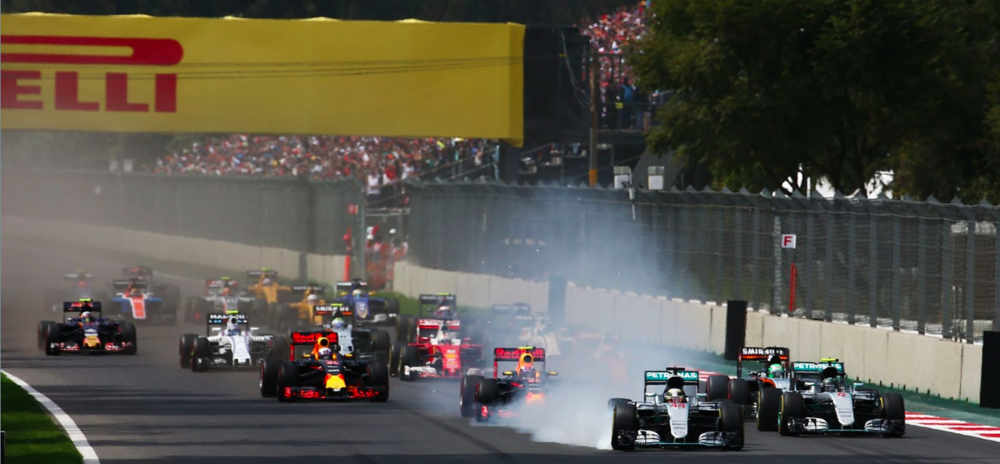 Hamilton's lock-up at turn 1 proved to be one of a few first lap dramas. Source: F1 Fanatic