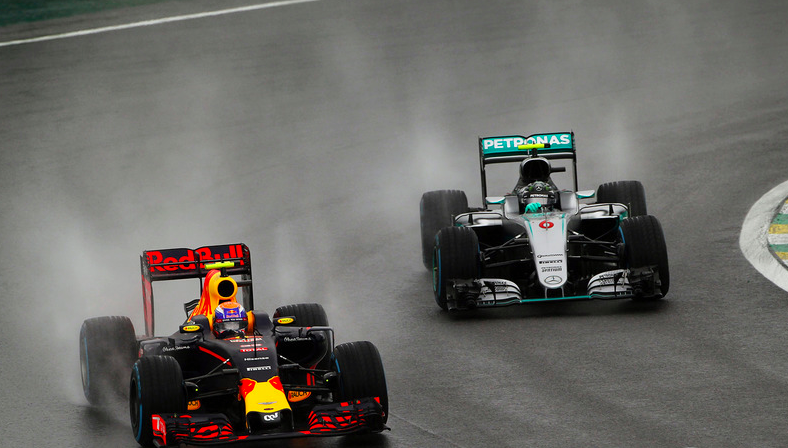 Verstappen drives clean round the outside of Nico Rosberg at Turn 3. Source: motorsport.com