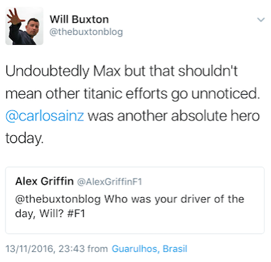 Will Buxton advises me of his vote for driver of the day on Twitter.