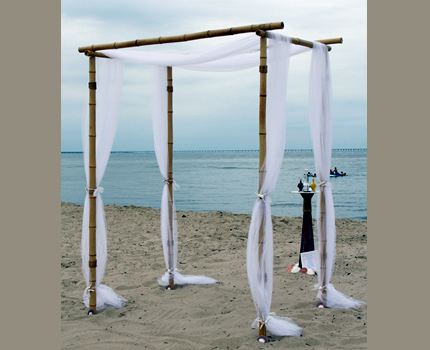 We designed this bamboo Chuppah for a wonderful California beach wedding.