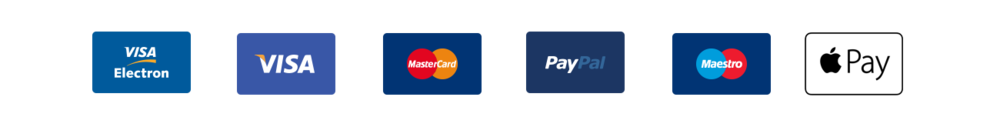 We accept all major debit and credits cards, paypal and BACs payments.